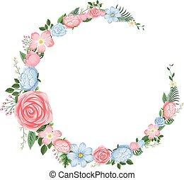 rose, bleu, conception, fleurs, frontière