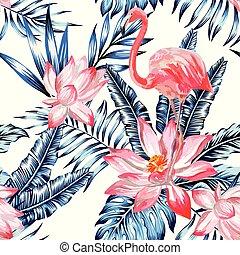 rose, bleu, flamant rose, aquarelle, feuilles, seamless, exotique, paume, fond