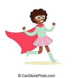 rose, bleu, superhero, avoir, habillé, masque, déguisement, feindre, cap, girl, super, sourire, pouvoirs, caractère