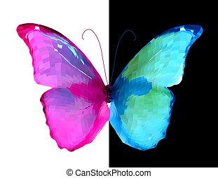 rose, bleu, vecteur, butterfly., moitié