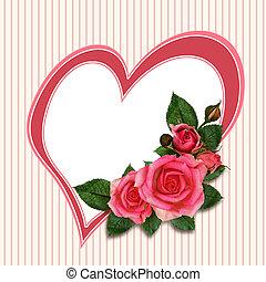 rose, blomster, og, hjerte