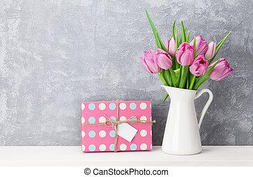 rose, boîte, cadeau, bouquet, tulipe, fleurs