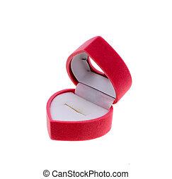 rose, boîte-cadeau, dans, forme coeur, isolé, blanc, fond