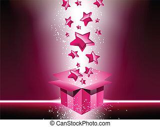rose, boîte, cadeau, stars.