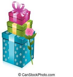 rose, boîtes, cadeau