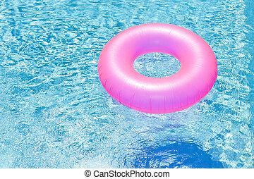 rose, bouée, piscine, natation
