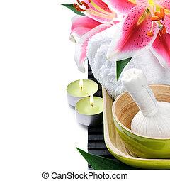rose, bougies, monture, lis, spa