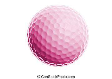 rose, boule blanche, golf, isolé