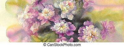 rose, bouquet, blanc, aquarelle, pivoines