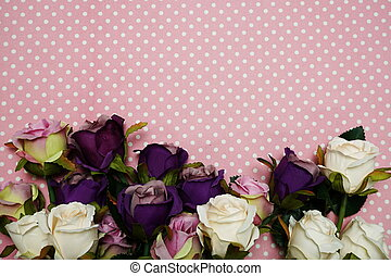 Rose bouquet border with Pink polka dot background