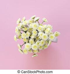 rose, bouquet, chrysanthèmes, arrière-plan.