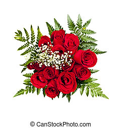 Rose bouquet from above - Bouquet of a dozen red roses from...