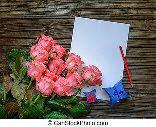 rose, bouquet, lettre amour, roses