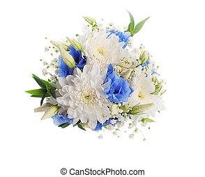 rose, bouquet, nuptial, fleurs, blanc