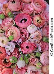 rose, bouquet, nuptial, ranunculus, roses