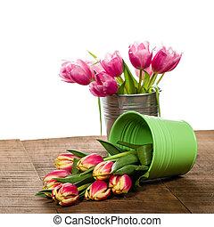 rose, bouquet, récipient, tulipes