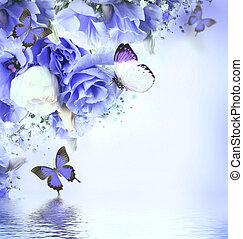 rose, bouquet, roses, fond, floral, papillon