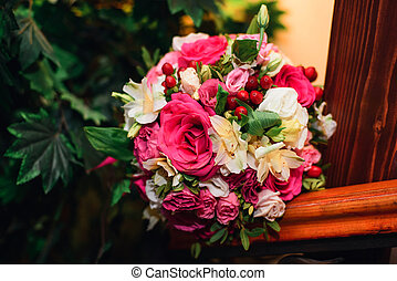 rose, bouquet, roses, mariage, fleurs blanches