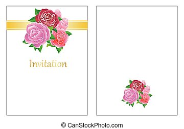 rose bouquet wedding invitation
