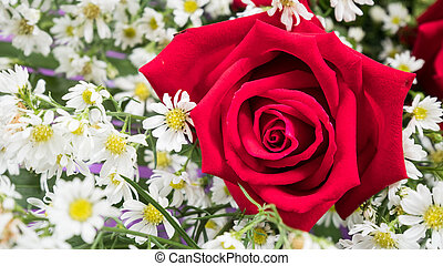 Rose bouquet with White flower.