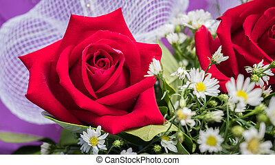 Rose bouquet with White flower