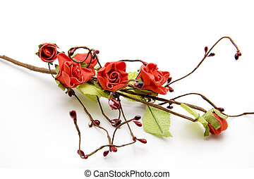 Rose branch with leaves