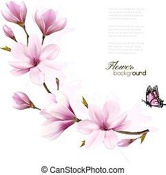 rose, branche, nature, fleur, magnolia, vecteur, fond, butterfly.