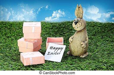 rose, brun, cadeau, boîte, Paques, lapin