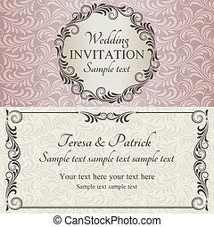 rose, brun, invitation, beige, mariage, baroque