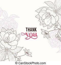 rose, brun, remercier, classique, vendange, cadre, mariage, vecteur, texte, retro, invitation, floral, élégant, vous, fleurs, dessin, carte, design.