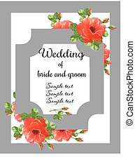 rose, bryllup, card, invitation
