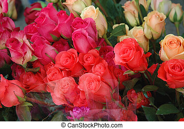 Multi - colored rose bunches