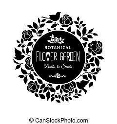 Rose bush silhouette. - Rose garden bush black silhouette...