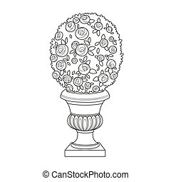 Rose bush with flowers growing in a curly garden vase outlined for coloring