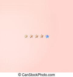 rose, business, concept., formes, arrière-plan., cinq, étoiles, minimalisme, services, brillant