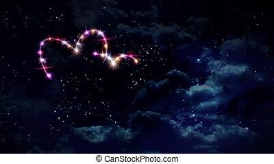 rose, cœurs, étoile, nuit