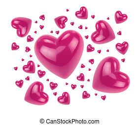 rose, cœurs