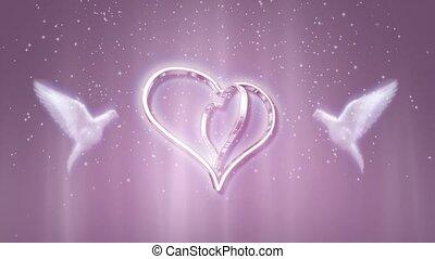 rose, cœurs, colombes, fond