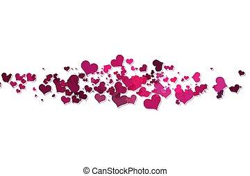 rose, cœurs, fond blanc