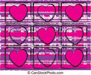 rose, cœurs, pourpre, plaid
