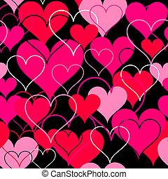 rose, cœurs, vecteur, seamless, arrière-plan.