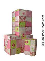 rose, cadeau, -, présente, papier, emballé, 2