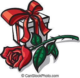 rose, cadeau