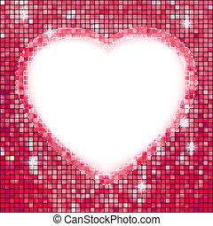 rose, cadre, dans, les, forme, de, heart., eps, 8