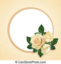 rose, cadre, fleurs, composition