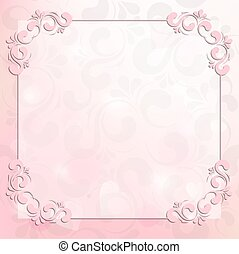rose, cadre, fond