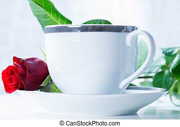 rose, café, petit déjeuner, tasse rouge