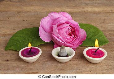 Rose candles and incense - Pink rose with small burning...