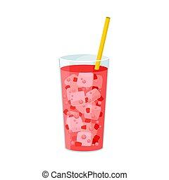 rose, carbonaté, drink., illustration, arrière-plan., vecteur, blanc