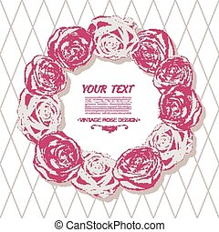 Rose card. Wreath made of pink roses.